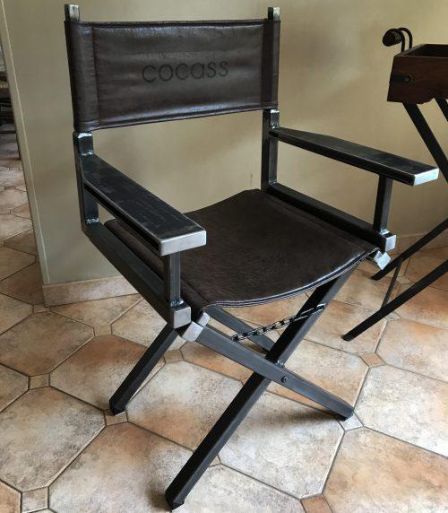 chaise de cinéma en métal et cuir personnalisée