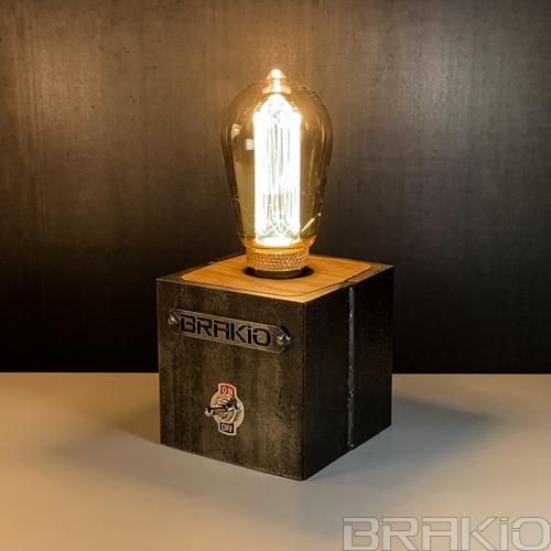 lampe cube industrielle en métal et bois